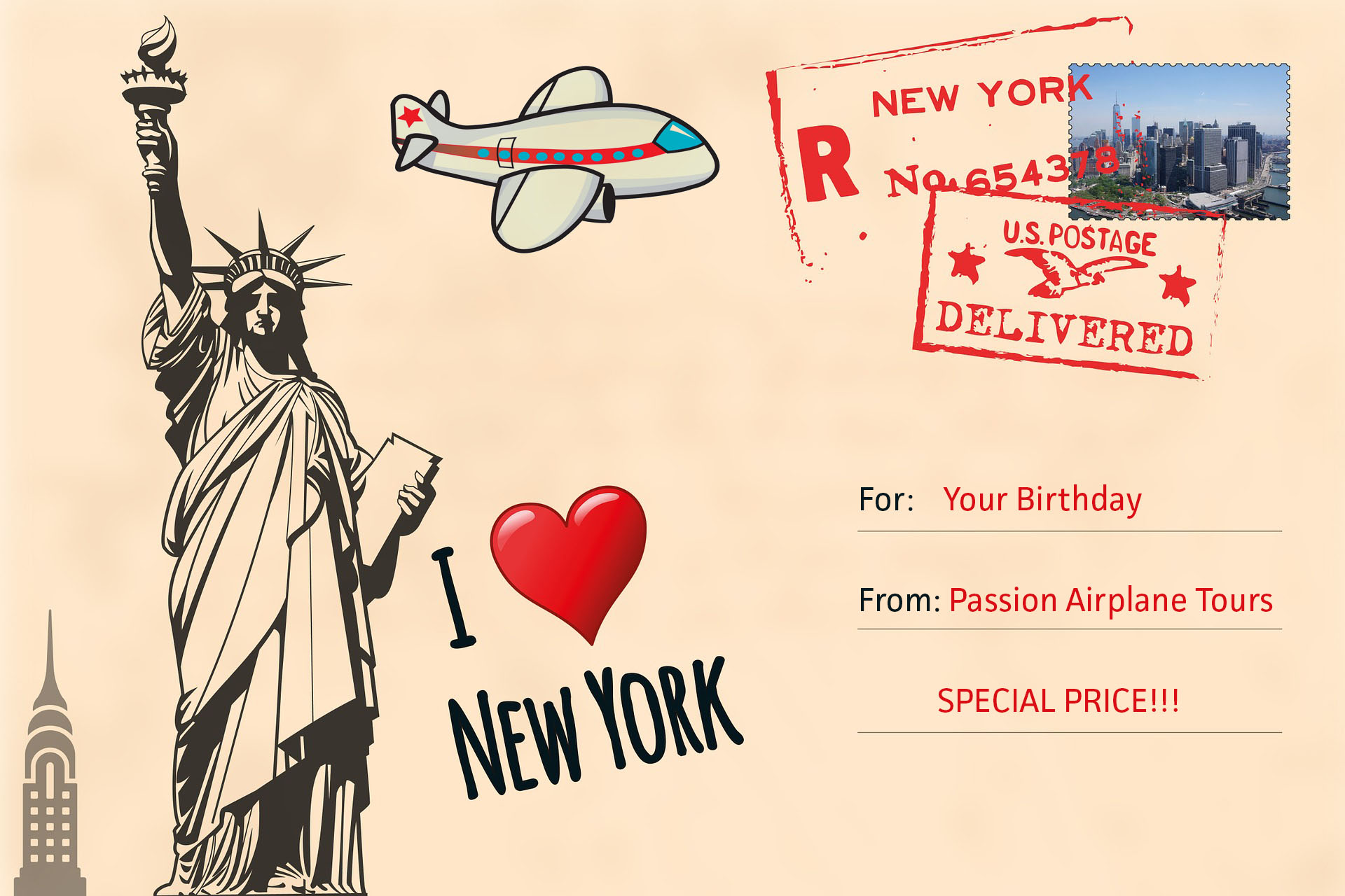Enjoy the thrill of soaring above New York City with a Passion Airplane Tours plane flight high above New York City to celebrate your birthday.